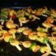 Crevettes marinées curry/ananas/poivrons